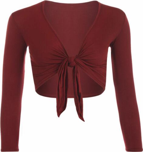 New Ladies Front Tie Up Cropped Bolero Shrug Womens Wrap Open Cardigan Top 6-14