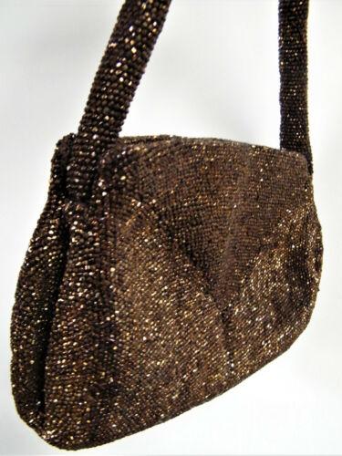 French Tiny Micro Copper Glass Handbag Hand Beaded