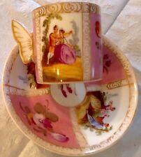 DRESDEN MINIATURE QUATROFOIL ROMANTIC CUP & SAUCER BUTTERFLY HANDLE HIRSCH