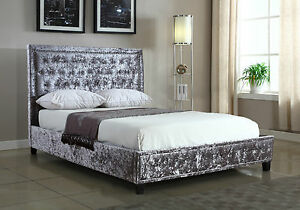 Silver crushed velvet upholstered designer bed frame with for Studded bed frame