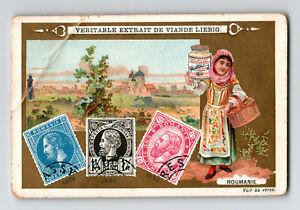 Romania Stamp on Liebig Advert Card Circa 1900 / Creased Corner - Z13073