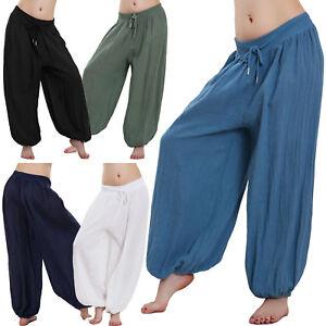 Pantaloni-donna-misto-lino-ampi-yoga-pants-laccio-casual-sexy-estivi-WD-2733