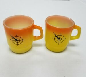 Vintage-Fire-King-Anchor-Hocking-Stackable-Coffee-Mugs-Yellow-orange-lot-of-2