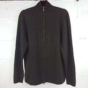Alfani-Zip-Up-Sweater-Men-Size-M-Brown-Wool