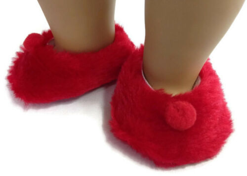Red Fuzzy Slipper Shoes with Pom Poms fits 18 inch American Girl Doll Clothes