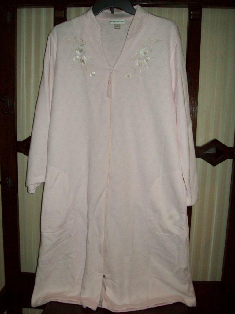 NWT MISS ELAINE ZIP FRONT SHORT ROBE KNIT DROP NEEDLE pink 366463 650 L