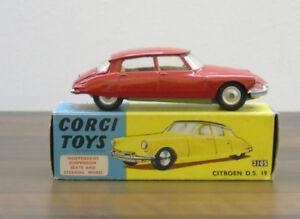 Corgi-Original-210-S-CITROEN-DS-19-rouge-Spun-Hubs-Very-Near-Comme-neuf-BOXED