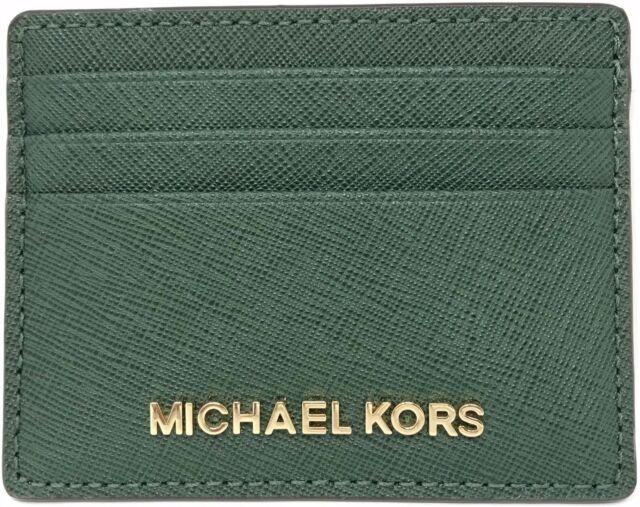 9a9c12f0b648 Michael Kors Saffiano Leather Jet Set Travel Large Card Case Holder Moss