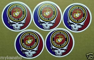 5 Seabees Grateful Dead Steal your face stickers//5 Seabees Stickers