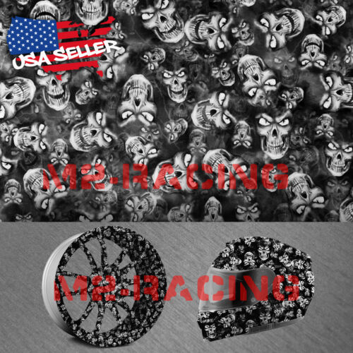 """19/""""x78/"""" Hydrographic Film Hydro Dipping Dip Water Transfer Black white Skull #20"""