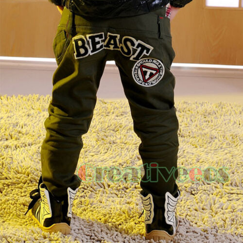 Fashion Kids Boys Girls Letters Solid Trousers Toddlers Pants Costume 2-7 Years