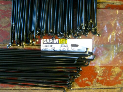 stainless Extra Thick **Any Length /& Qty.** SAPIM LEADER Black Spokes 2.3mm 13g
