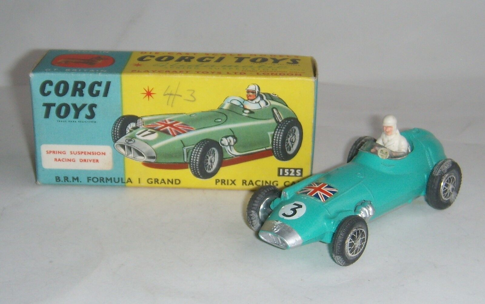 Corgi Toys No. 152s, BRM Formula 1 Grand Prix Racing Car, - Superb