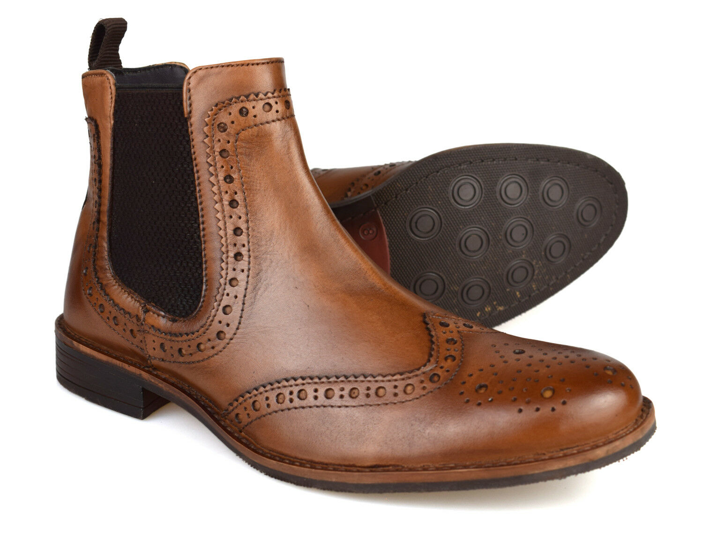 Silver Street Byron Tan Leder Brogue  Herren Chelsea Stiefel   Free UK P&P