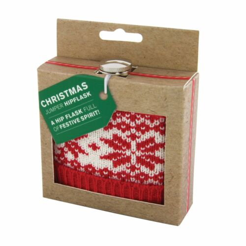 Festive Christmas Jumper Hip Flask Drinking Fun Party Stocking Filler Gift