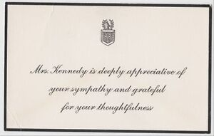 image is loading jfk assassination jacqueline kennedy sympathy thank you card - Condolence Thank You Cards