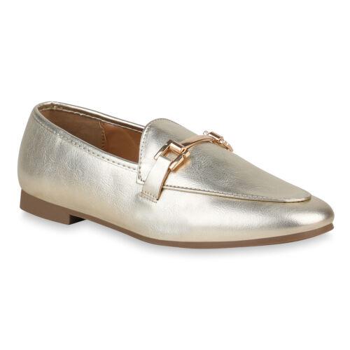 Damen Slippers Metallic Loafers Ketten Slip Ons Freizeit Schuhe 821059 Top