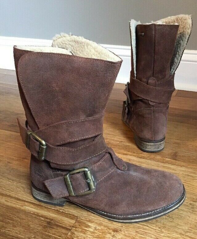 Mtng Laima Womens Brown Suede Leather Mid-Calf Sherpa Lining Boots 39 8.5