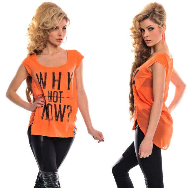 Damen Shirt, Top, Tank Top orange Hüftlang S/M, L/XL
