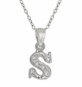 1786b4fda4058 Sterling Silver Cursive Letter S Initial Pendant with Cubic Zirconia ...