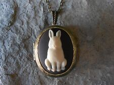 BUNNY RABBIT CAMEO LOCKET - EASTER GIFT- EASTER - SPRING,ANTIQUE BRONZE, QUALITY