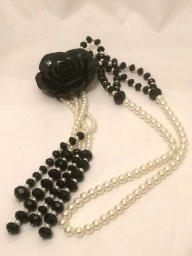 Statement Chunky Long Big Large Black Crystal Beaded Faux Pearl Rose Necklace