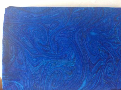 BATIK TISSU-Marbles par Michael Miller avec des notes de Turquoise Royal Blues