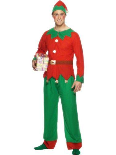 "Red /& Green Leg Inseam 33/"" Chest 42/""-44/"" Smiffys Elf Costume Male"