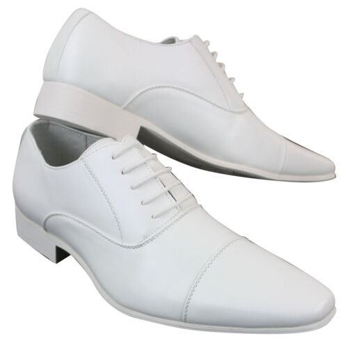 Mens Smart Formal Dress Shoes Laced White Tan Brown Black Office Wedding Leather