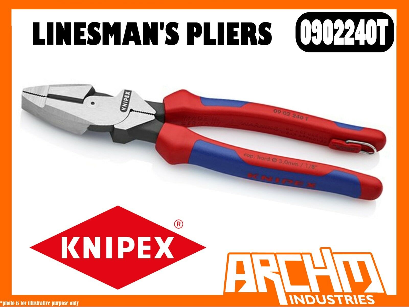 KNIPEX 0902240T - LINESMAN'S PLIERS - 240MM CUTTING EDGE HIGH TRANSMISSION RATIO