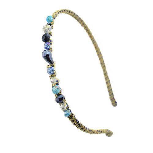Irregular Crystal Beads Gold Wire Hairband Headband Hoop Accessories NICA