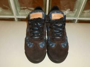 228642a19 Louis Vuitton Jester Denim Monogram Brown Suede Sneaker Shoes Size ...