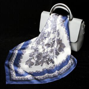 100-Silk-Scarf-Women-039-s-Vintage-Paisley-amp-Floral-Print-Boho-Style-Bandana-53cm