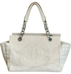 6d6083cbba5384 Image is loading Authentic-CHANEL-Canvas-Lambskin-Beige-CC-Medium-Shopping-