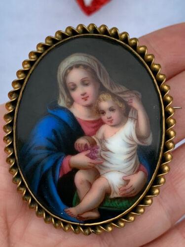 Antique 1900 s Madonna with Child Portrait brooch