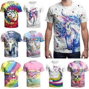 1b577dcc2d3d36 3D Printed Rainbow Unicorn Funny Men s T-shirts Slim Fit Short ...
