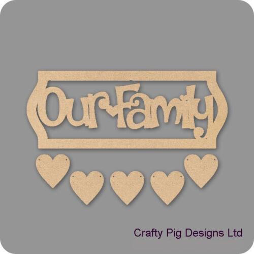 Notre famille encadrée plaque avec 5 coeurs suspendus 3mm mdf en bois artisanat plaque