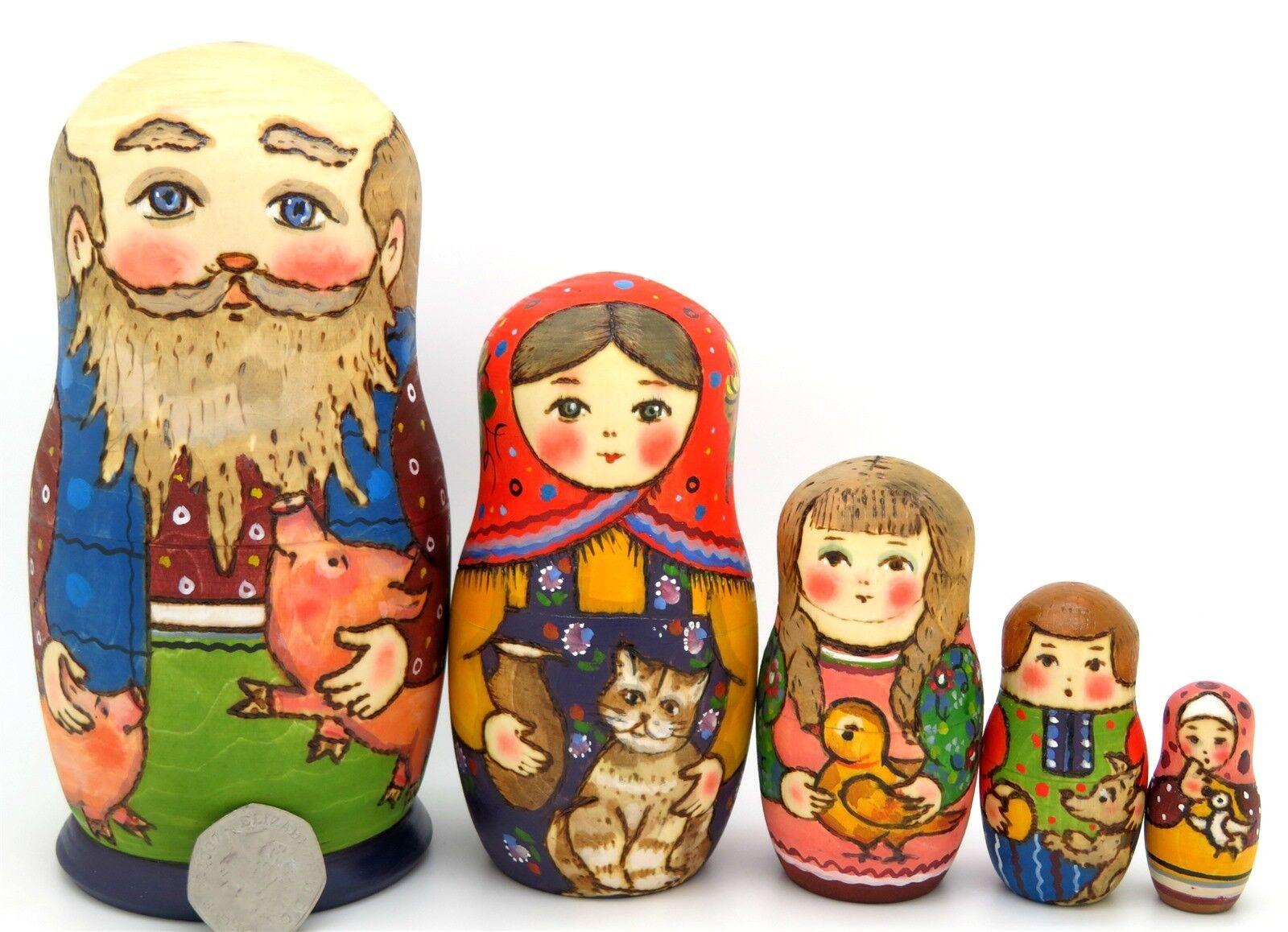 Muñecas Rusas Jerarquización 5 Pintado a Mano Tradicional De Pollo Cerdo martryoshka Ryabova