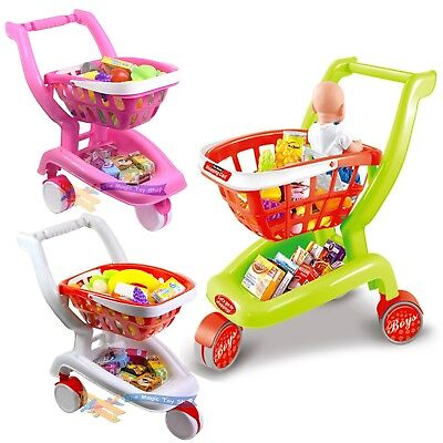 Casdon Shopping Trolley Supermarket Cart with Food Toy Pretend Play Kids Gift UK