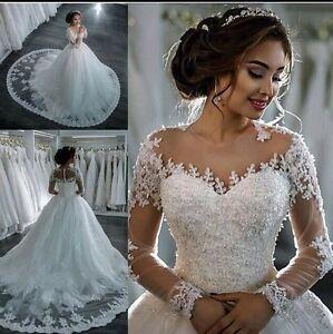 UK-2018-White-ivory-Long-Sleeve-A-Line-Lace-Wedding-Dress-Bridal-Gown-Size-6-22