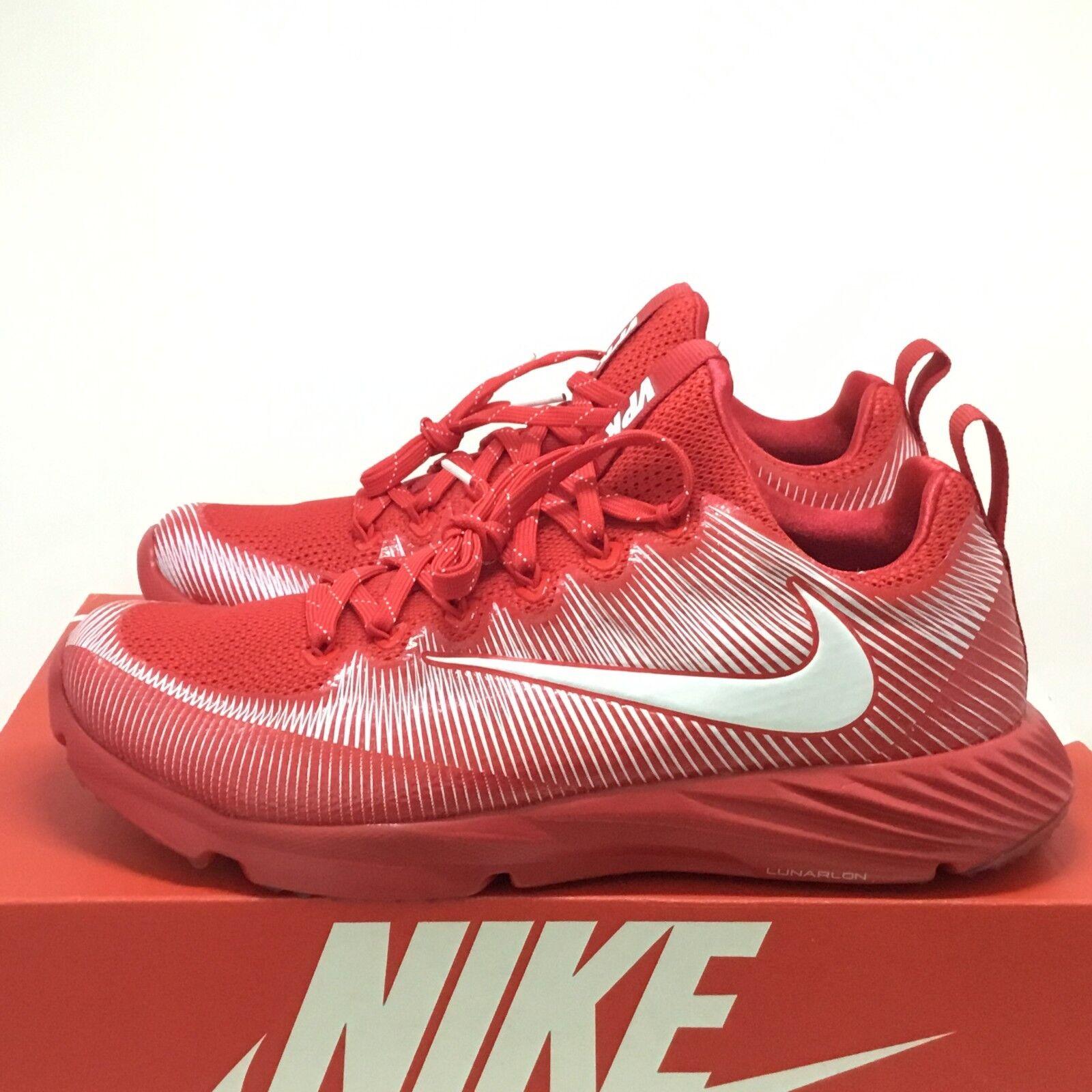 Nike vapore velocità territorio aeroporto allenatore di calcio scarpe rosso - bianco - sz 8 (833408-611)