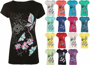 New-Womens-Plus-Size-Butterfly-Print-Short-Sleeve-T-Shirt-Ladies-Baggy-Top-14-20