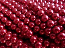 1 Strand (140 Beads) 6mm Red Glass Pearl Beads, Faux Imitation Pearls (GLPB9018)