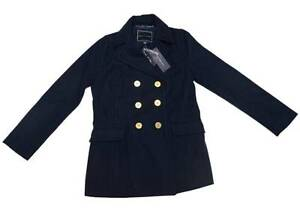 Tommy-Hilfiger-Womens-Navy-Solid-Peacoat-Winter-Wool-Jacket-Size-US-4-New