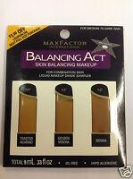 Max Factor Balancing Act Liquid Makeup Shade Sampler For Medium To Dark Skin.