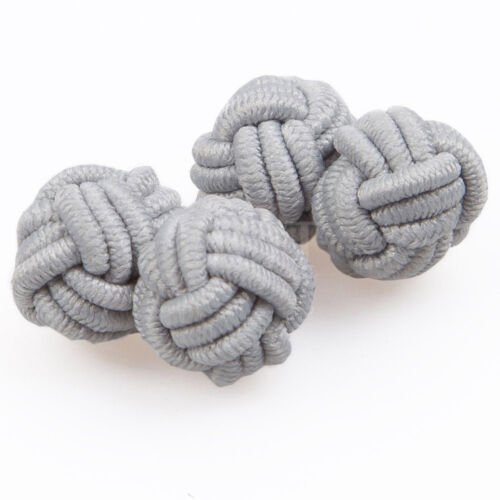 Nudo DQT Poliéster Tela Gemelos llano sólido De Plata Para Hombre Cufflinks