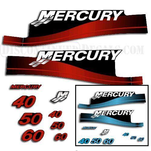 Mercury 40/50/60 hp Outboard Decal Kit - Blau Blau - or ROT 44a09e