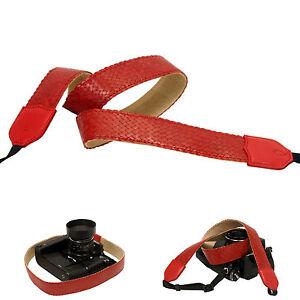 Red Leather Mesh 38mm Neck Shoulder Camera Strap for Film SLR DSLR RF Digital