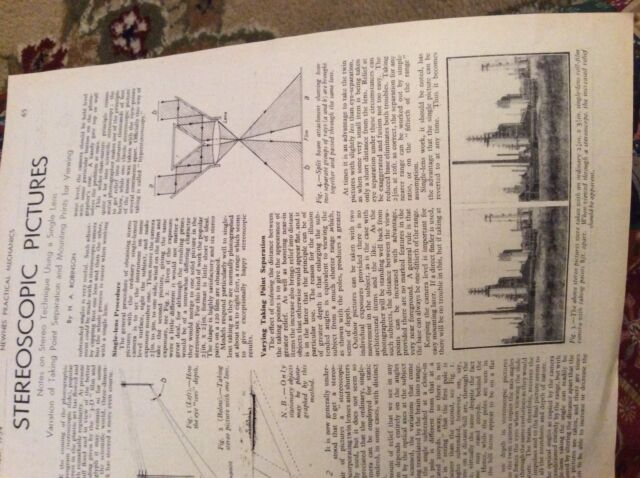M12b ephemera 1954 article how steroscopic pictures work