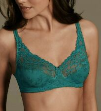 32A M&S FLORAL LACE JACQUARD NON-WIRED FULL CUP BRA ~ Sea Green ~ NEW *RRP £16*